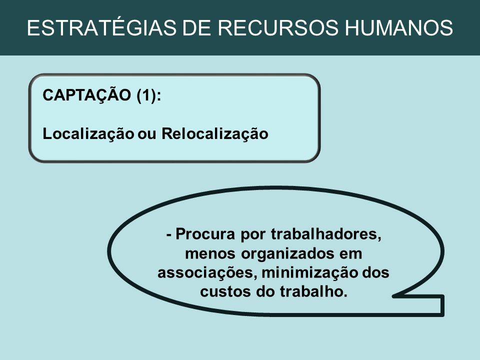 ESTRATÉGIAS DE RECURSOS HUMANOS CAPTAÇÃO (1): Localização ou Relocalização - Procura por trabalhadores, menos organizados em associações, minimização
