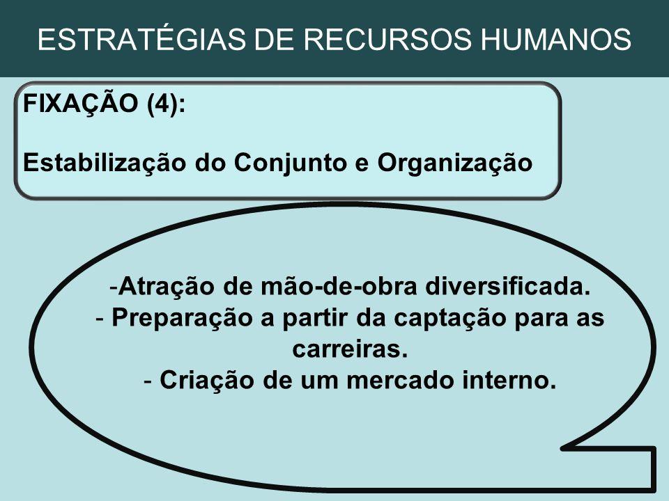 ESTRATÉGIAS DE RECURSOS HUMANOS FIXAÇÃO (4): Estabilização do Conjunto e Organização -Atração de mão-de-obra diversificada. - Preparação a partir da c