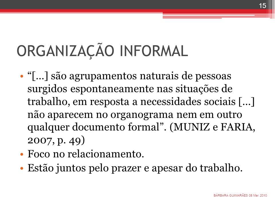 ORGANIZAÇÃO INFORMAL [...] são agrupamentos naturais de pessoas surgidos espontaneamente nas situações de trabalho, em resposta a necessidades sociais