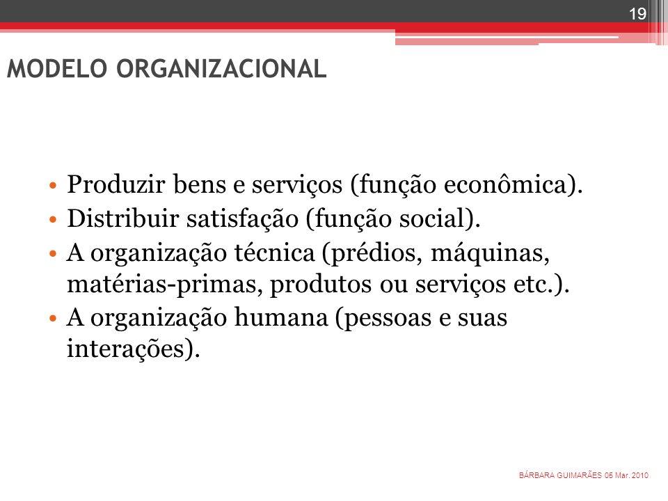 Produzir bens e serviços (função econômica). Distribuir satisfação (função social). A organização técnica (prédios, máquinas, matérias-primas, produto