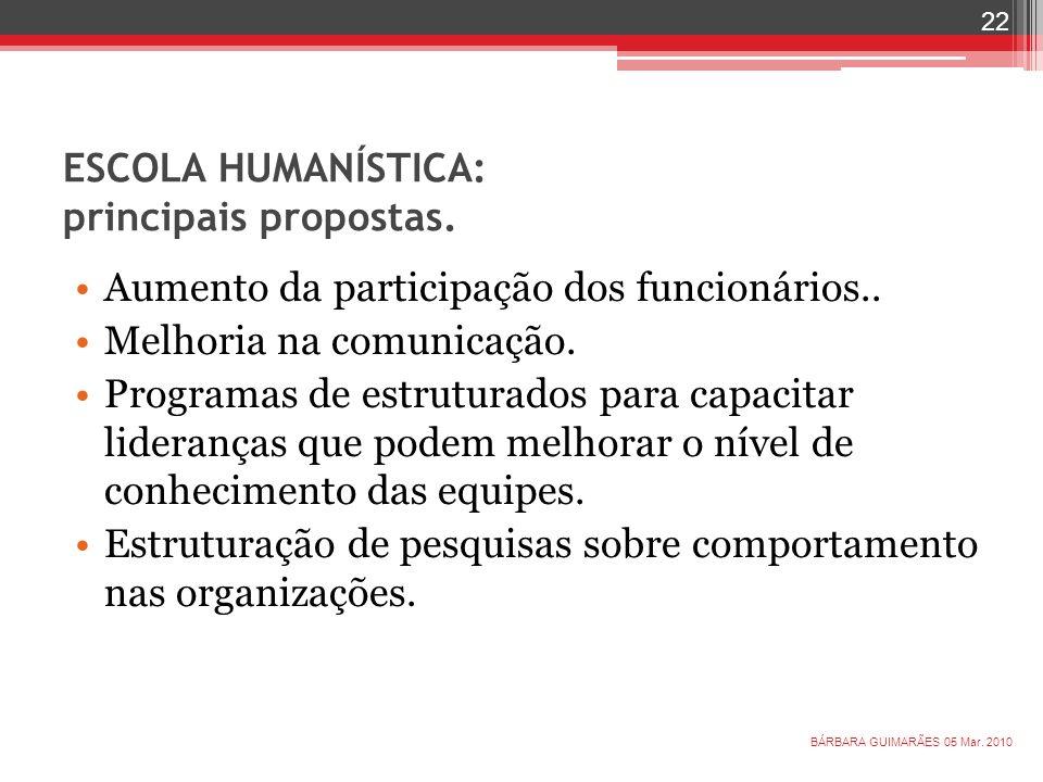 ESCOLA HUMANÍSTICA: principais propostas. Aumento da participação dos funcionários.. Melhoria na comunicação. Programas de estruturados para capacitar