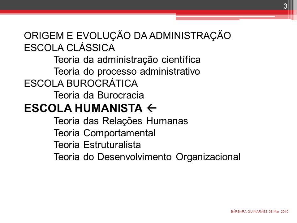 ORIGEM E EVOLUÇÃO DA ADMINISTRAÇÃO ESCOLA CLÁSSICA Teoria da administração científica Teoria do processo administrativo ESCOLA BUROCRÁTICA Teoria da B
