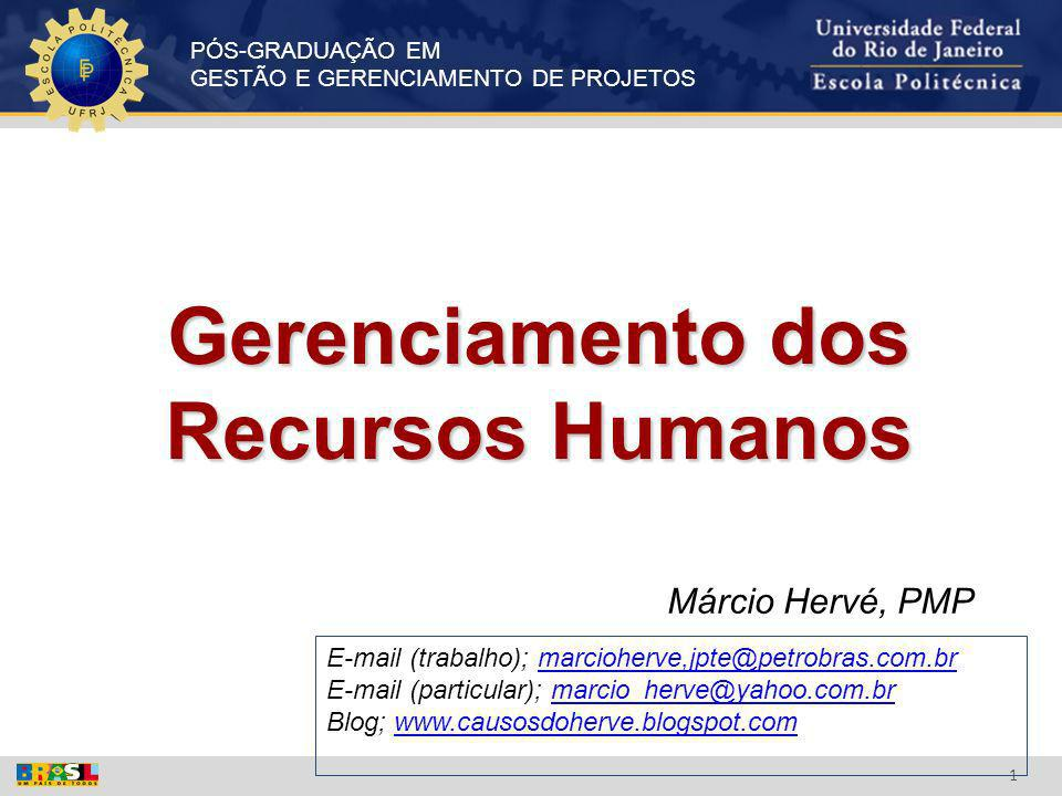 PÓS-GRADUAÇÃO EM GESTÃO E GERENCIAMENTO DE PROJETOS 1 Gerenciamento dos Recursos Humanos Márcio Hervé, PMP E-mail (trabalho); marcioherve,jpte@petrobr