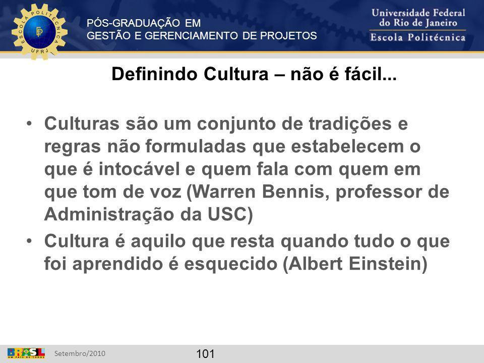 PÓS-GRADUAÇÃO EM GESTÃO E GERENCIAMENTO DE PROJETOS Setembro/2010 101 Definindo Cultura – não é fácil... Culturas são um conjunto de tradições e regra