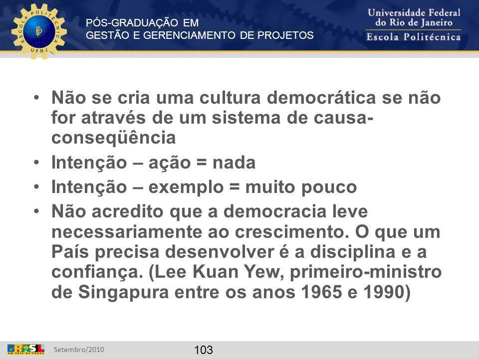 PÓS-GRADUAÇÃO EM GESTÃO E GERENCIAMENTO DE PROJETOS Setembro/2010 103 Não se cria uma cultura democrática se não for através de um sistema de causa- c