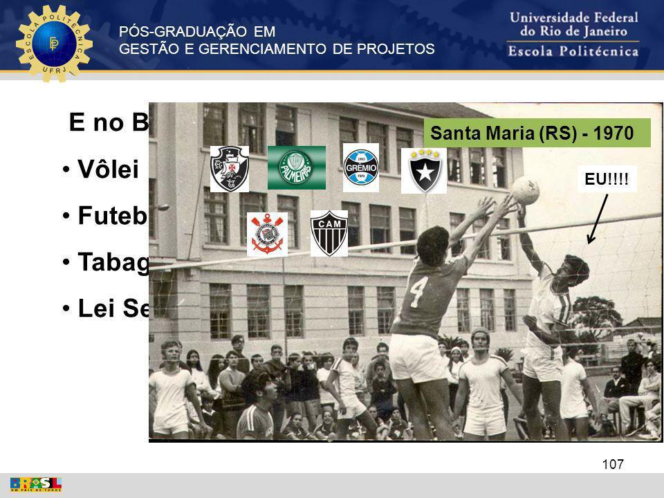 PÓS-GRADUAÇÃO EM GESTÃO E GERENCIAMENTO DE PROJETOS E no Brasil? Vôlei Futebol Tabagismo Lei Seca 107 Santa Maria (RS) - 1970 EU!!!!