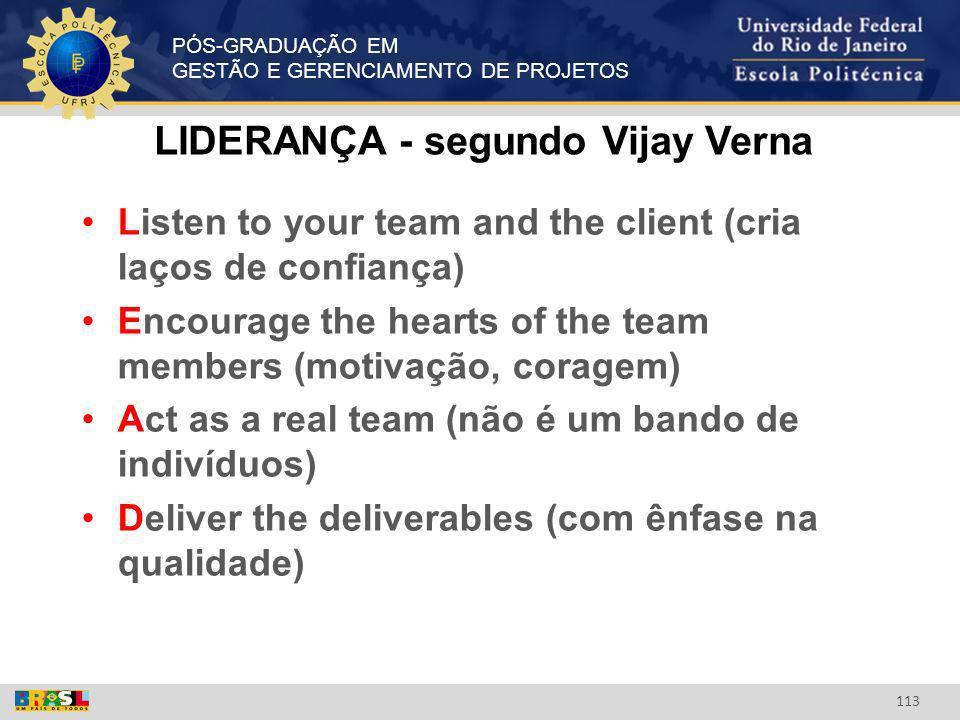 PÓS-GRADUAÇÃO EM GESTÃO E GERENCIAMENTO DE PROJETOS 113 LIDERANÇA - segundo Vijay Verna Listen to your team and the client (cria laços de confiança) E
