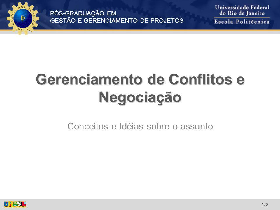 PÓS-GRADUAÇÃO EM GESTÃO E GERENCIAMENTO DE PROJETOS 128 Gerenciamento de Conflitos e Negociação Conceitos e Idéias sobre o assunto