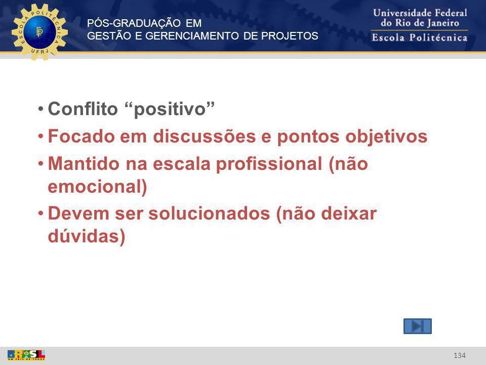 PÓS-GRADUAÇÃO EM GESTÃO E GERENCIAMENTO DE PROJETOS 134 Conflito positivo Focado em discussões e pontos objetivos Mantido na escala profissional (não