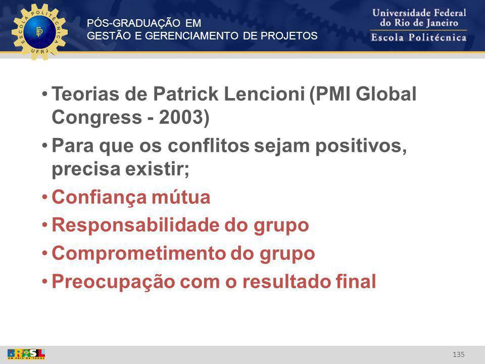 PÓS-GRADUAÇÃO EM GESTÃO E GERENCIAMENTO DE PROJETOS 135 Teorias de Patrick Lencioni (PMI Global Congress - 2003) Para que os conflitos sejam positivos