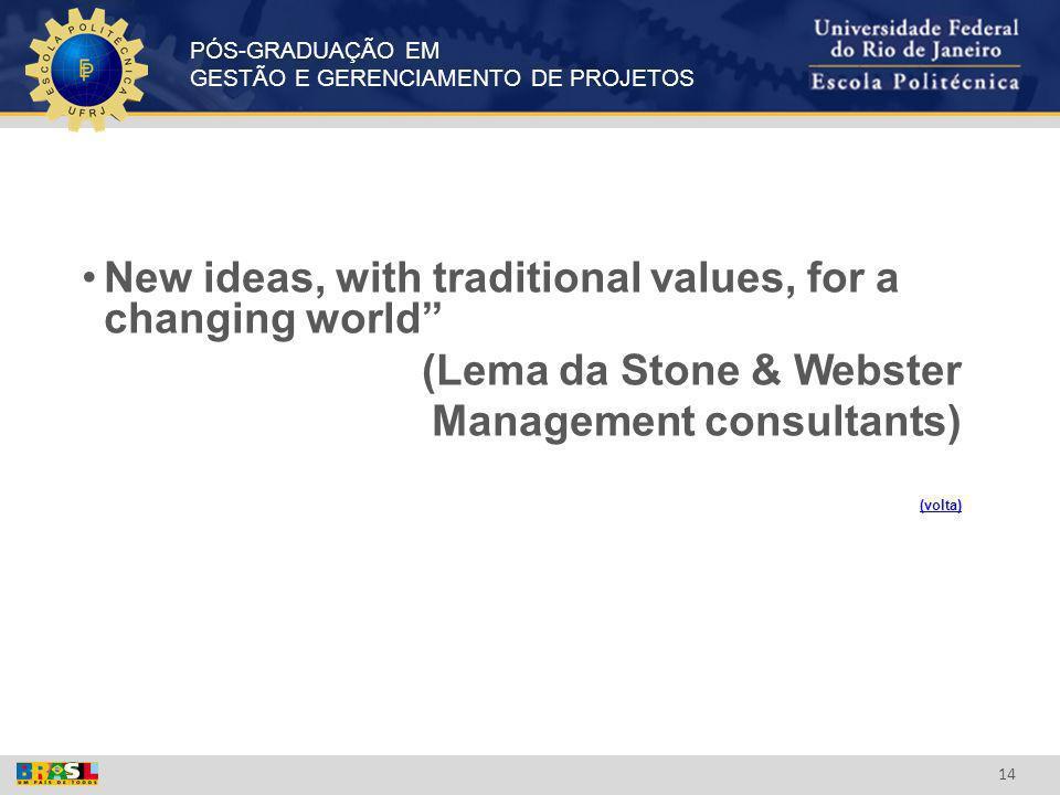 PÓS-GRADUAÇÃO EM GESTÃO E GERENCIAMENTO DE PROJETOS 14 New ideas, with traditional values, for a changing world (Lema da Stone & Webster Management co