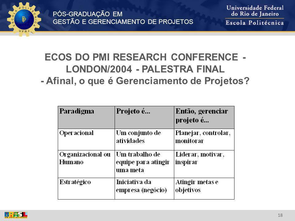 PÓS-GRADUAÇÃO EM GESTÃO E GERENCIAMENTO DE PROJETOS 18 ECOS DO PMI RESEARCH CONFERENCE - LONDON/2004 - PALESTRA FINAL - Afinal, o que é Gerenciamento
