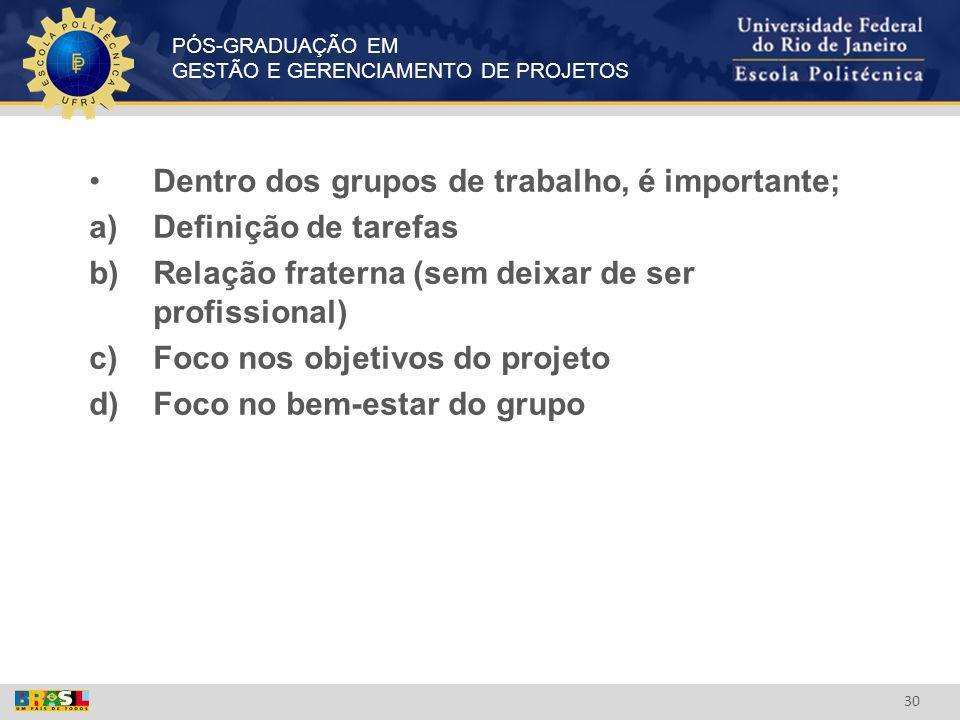 PÓS-GRADUAÇÃO EM GESTÃO E GERENCIAMENTO DE PROJETOS 30 Dentro dos grupos de trabalho, é importante; a)Definição de tarefas b)Relação fraterna (sem dei