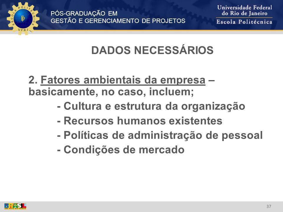 PÓS-GRADUAÇÃO EM GESTÃO E GERENCIAMENTO DE PROJETOS 37 DADOS NECESSÁRIOS 2. Fatores ambientais da empresa – basicamente, no caso, incluem; - Cultura e