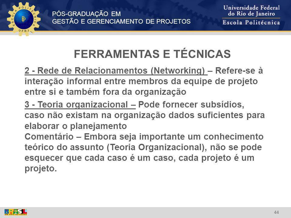 PÓS-GRADUAÇÃO EM GESTÃO E GERENCIAMENTO DE PROJETOS 44 FERRAMENTAS E TÉCNICAS 2 - Rede de Relacionamentos (Networking) – Refere-se à interação informa