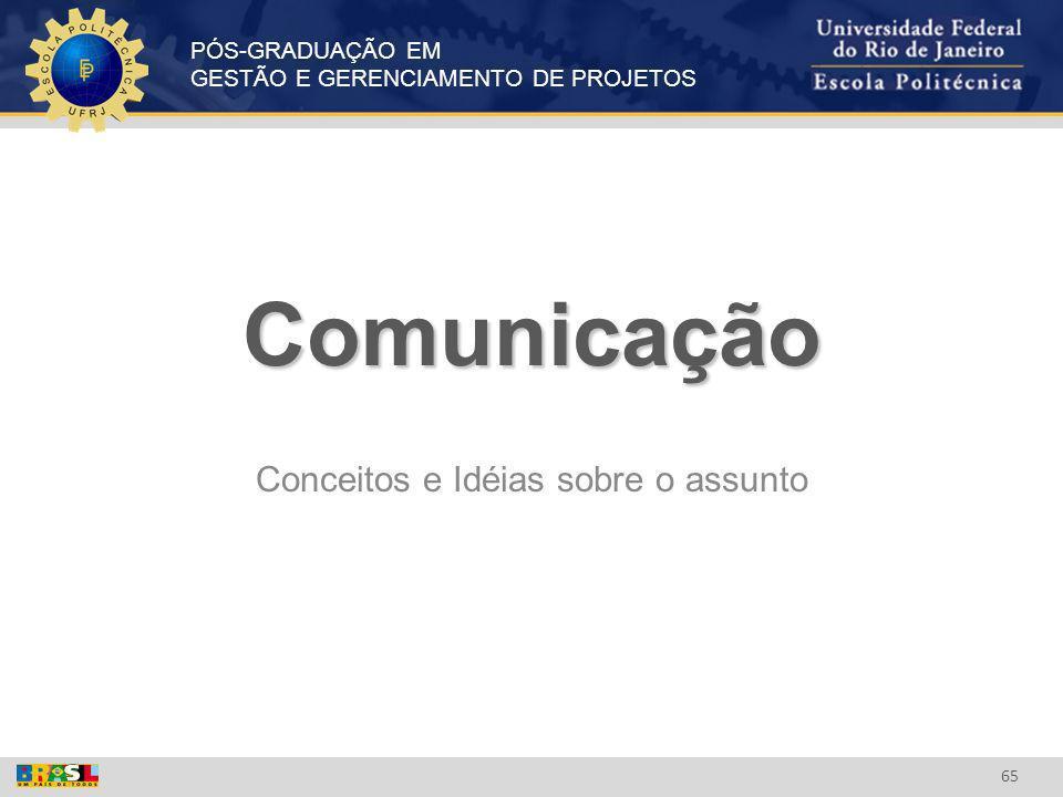 PÓS-GRADUAÇÃO EM GESTÃO E GERENCIAMENTO DE PROJETOS 65 Comunicação Conceitos e Idéias sobre o assunto