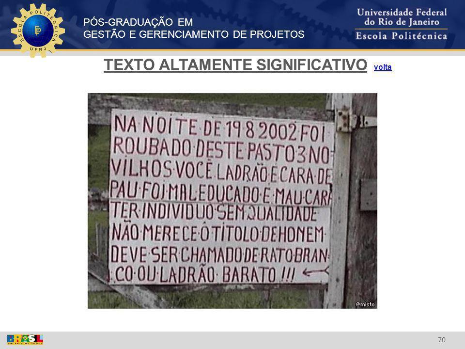 PÓS-GRADUAÇÃO EM GESTÃO E GERENCIAMENTO DE PROJETOS 70 TEXTO ALTAMENTE SIGNIFICATIVO voltavolta