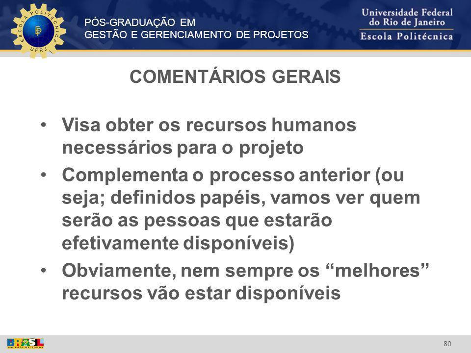 PÓS-GRADUAÇÃO EM GESTÃO E GERENCIAMENTO DE PROJETOS 80 COMENTÁRIOS GERAIS Visa obter os recursos humanos necessários para o projeto Complementa o proc