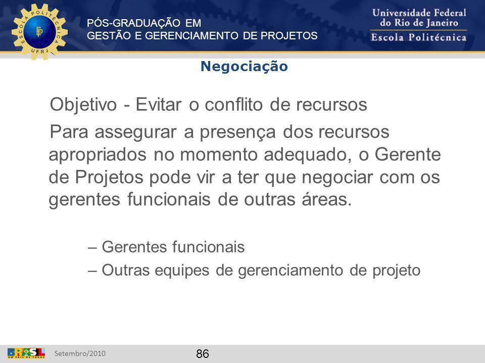 PÓS-GRADUAÇÃO EM GESTÃO E GERENCIAMENTO DE PROJETOS Setembro/2010 86 Objetivo - Evitar o conflito de recursos Para assegurar a presença dos recursos a