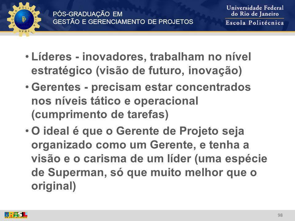 PÓS-GRADUAÇÃO EM GESTÃO E GERENCIAMENTO DE PROJETOS 98 Líderes - inovadores, trabalham no nível estratégico (visão de futuro, inovação) Gerentes - pre