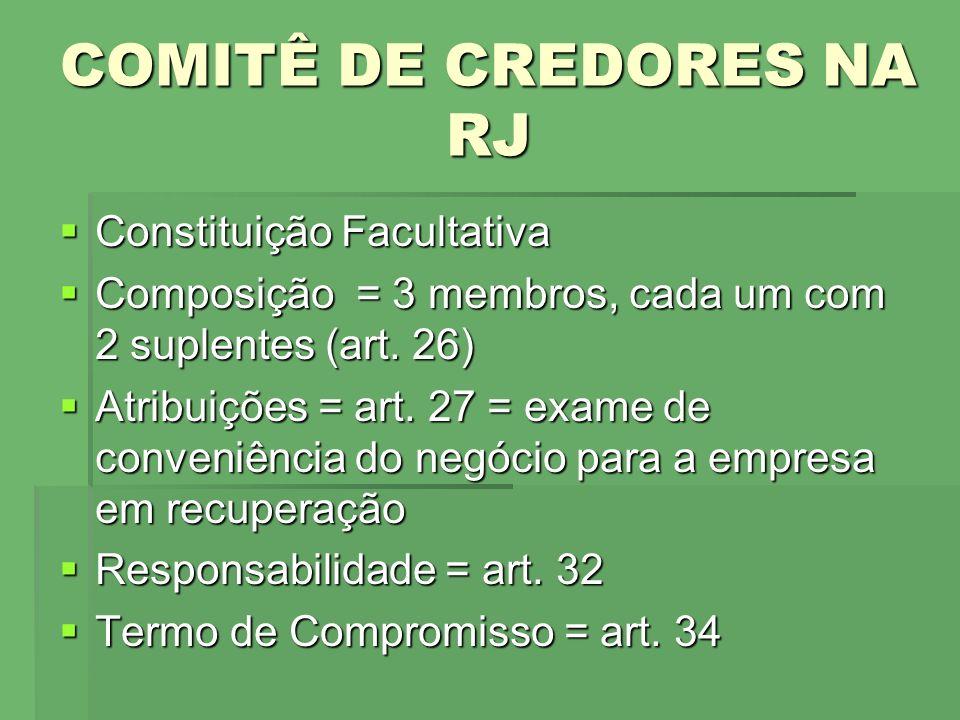 COMITÊ DE CREDORES NA RJ Constituição Facultativa Constituição Facultativa Composição = 3 membros, cada um com 2 suplentes (art. 26) Composição = 3 me