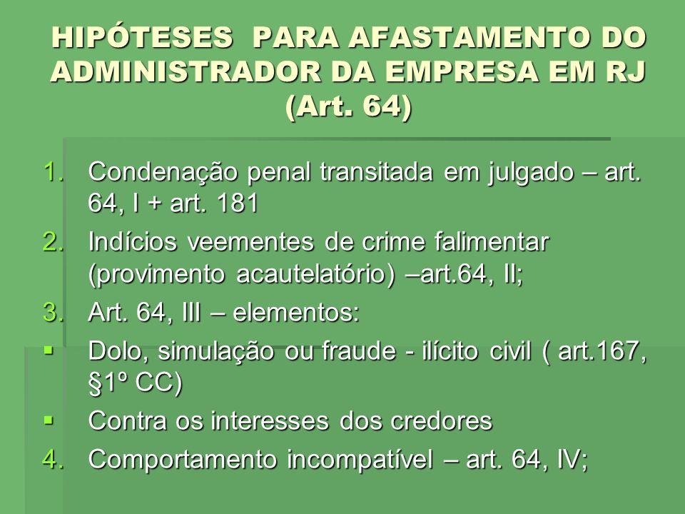 HIPÓTESES PARA AFASTAMENTO DO ADMINISTRADOR DA EMPRESA EM RJ (Art. 64) 1.Condenação penal transitada em julgado – art. 64, I + art. 181 2.Indícios vee