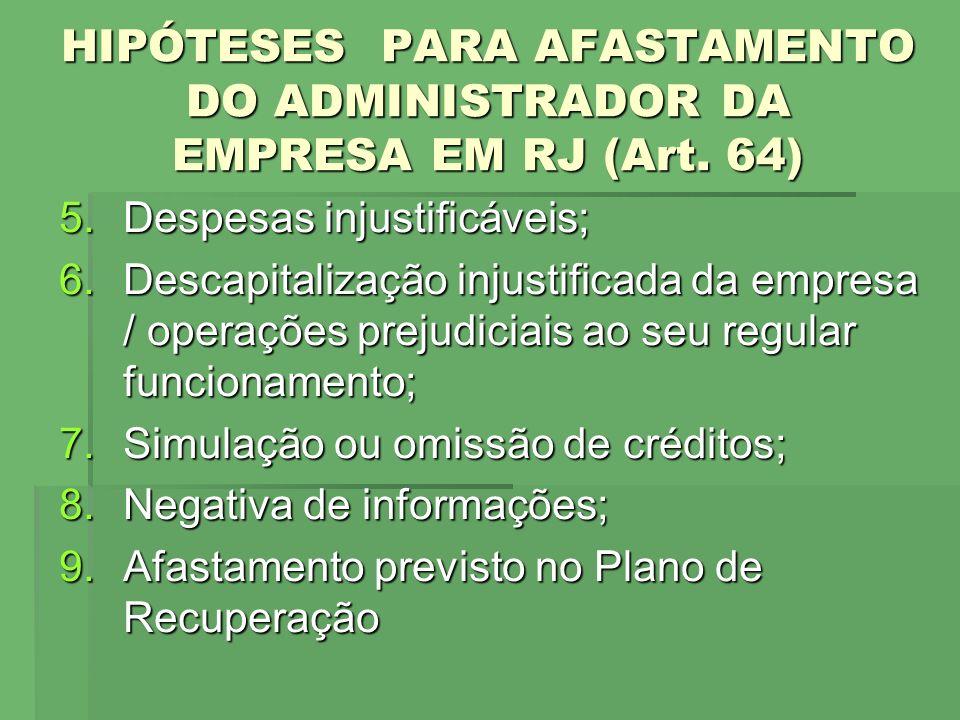HIPÓTESES PARA AFASTAMENTO DO ADMINISTRADOR DA EMPRESA EM RJ (Art. 64) 5.Despesas injustificáveis; 6.Descapitalização injustificada da empresa / opera