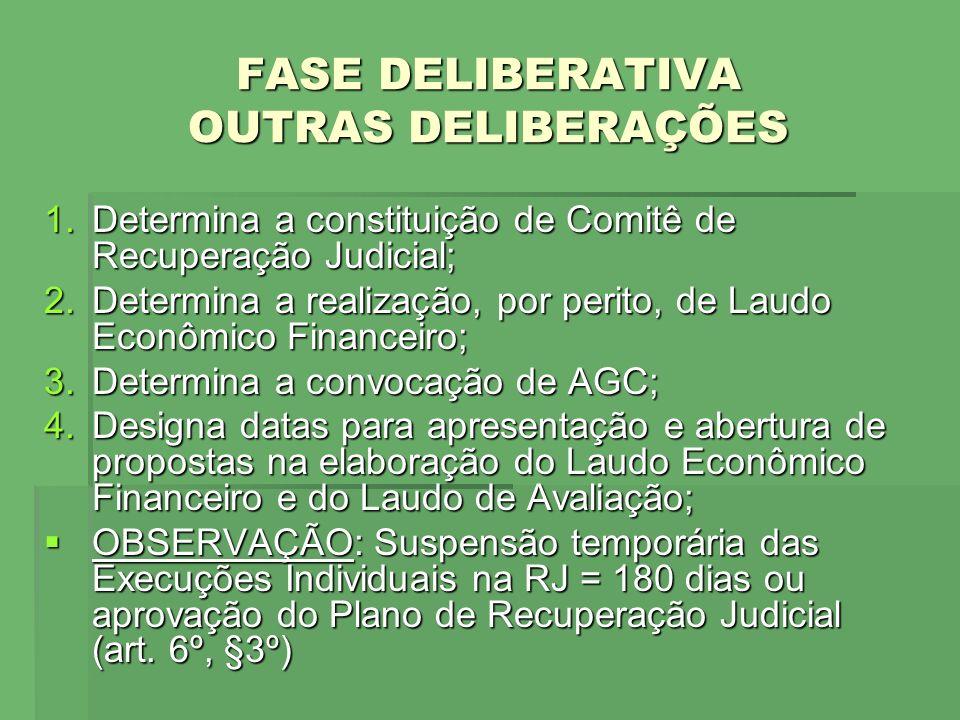 FASE DELIBERATIVA OUTRAS DELIBERAÇÕES 1.Determina a constituição de Comitê de Recuperação Judicial; 2.Determina a realização, por perito, de Laudo Eco