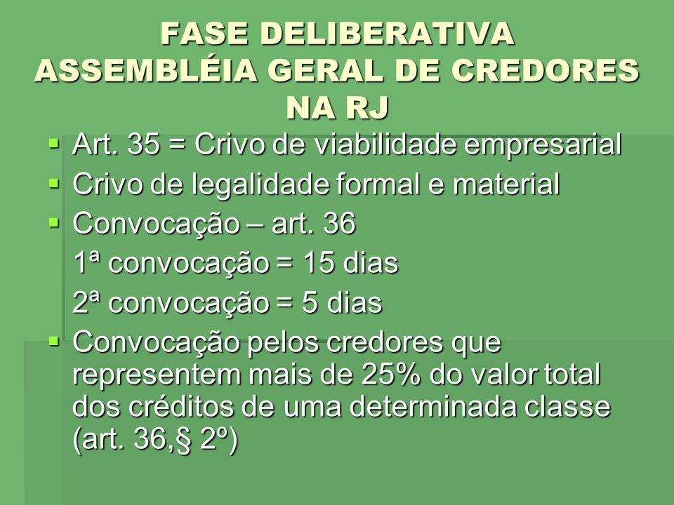FASE DELIBERATIVA ASSEMBLÉIA GERAL DE CREDORES NA RJ Art. 35 = Crivo de viabilidade empresarial Art. 35 = Crivo de viabilidade empresarial Crivo de le