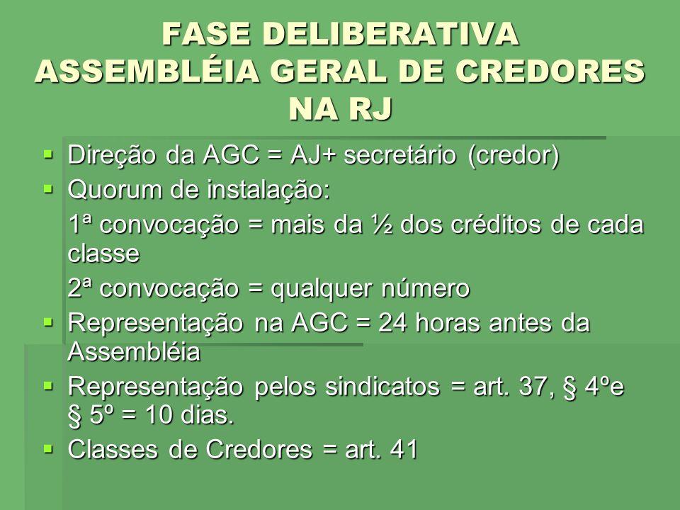 FASE DELIBERATIVA ASSEMBLÉIA GERAL DE CREDORES NA RJ Direção da AGC = AJ+ secretário (credor) Direção da AGC = AJ+ secretário (credor) Quorum de insta