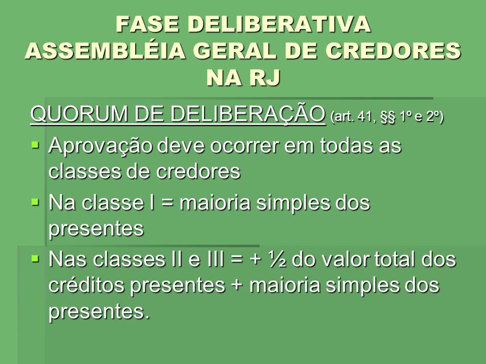 FASE DELIBERATIVA ASSEMBLÉIA GERAL DE CREDORES NA RJ QUORUM DE DELIBERAÇÃO (art. 41, §§ 1º e 2º) Aprovação deve ocorrer em todas as classes de credore