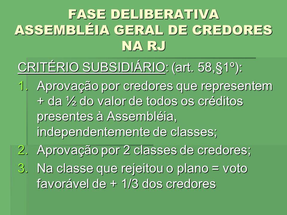 FASE DELIBERATIVA ASSEMBLÉIA GERAL DE CREDORES NA RJ CRITÉRIO SUBSIDIÁRIO: (art. 58,§1º): 1.Aprovação por credores que representem + da ½ do valor de
