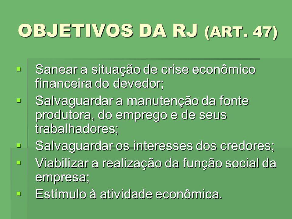 OBJETIVOS DA RJ (ART. 47) Sanear a situação de crise econômico financeira do devedor; Sanear a situação de crise econômico financeira do devedor; Salv