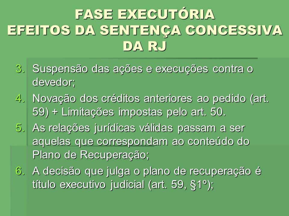FASE EXECUTÓRIA EFEITOS DA SENTENÇA CONCESSIVA DA RJ 3.Suspensão das ações e execuções contra o devedor; 4.Novação dos créditos anteriores ao pedido (