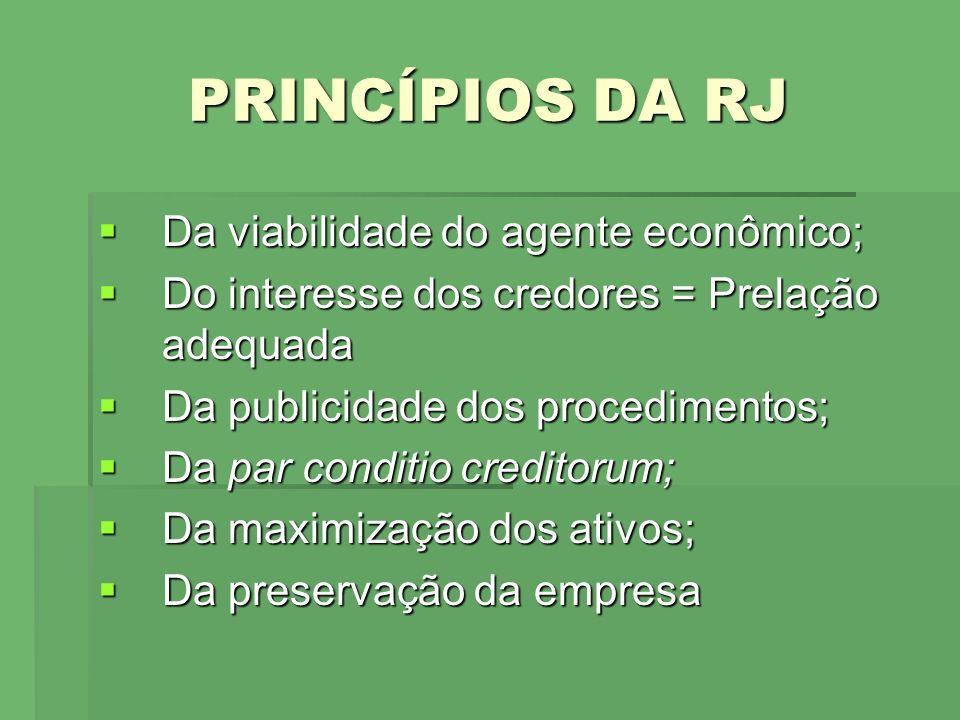 PRINCÍPIOS DA RJ Da viabilidade do agente econômico; Da viabilidade do agente econômico; Do interesse dos credores = Prelação adequada Do interesse do