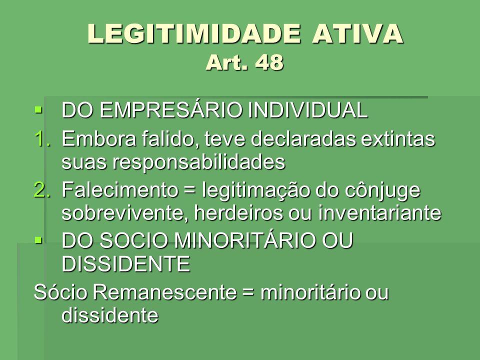 LEGITIMIDADE ATIVA Art. 48 DO EMPRESÁRIO INDIVIDUAL DO EMPRESÁRIO INDIVIDUAL 1.Embora falido, teve declaradas extintas suas responsabilidades 2.Faleci