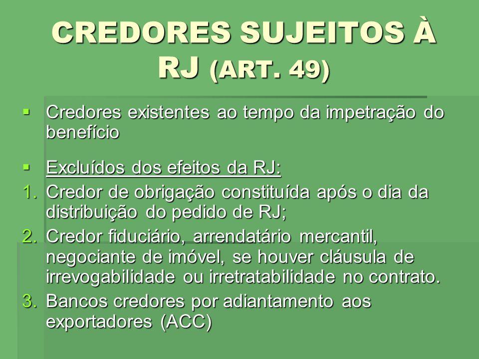 CREDORES SUJEITOS À RJ (ART. 49) Credores existentes ao tempo da impetração do benefício Credores existentes ao tempo da impetração do benefício Exclu