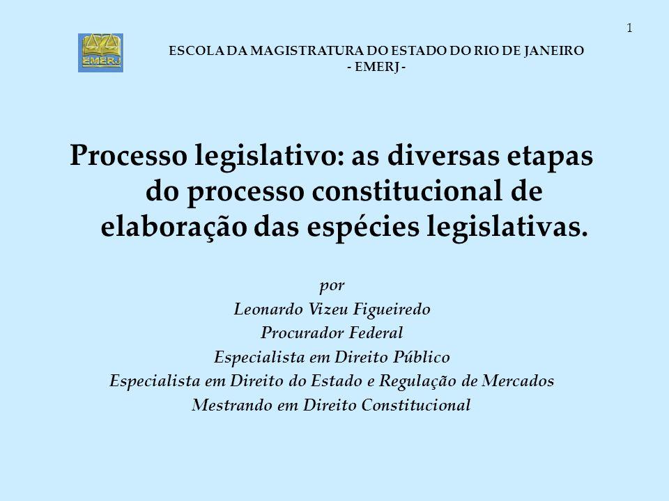 ESCOLA DA MAGISTRATURA DO ESTADO DO RIO DE JANEIRO - EMERJ - 1 Processo legislativo: as diversas etapas do processo constitucional de elaboração das e
