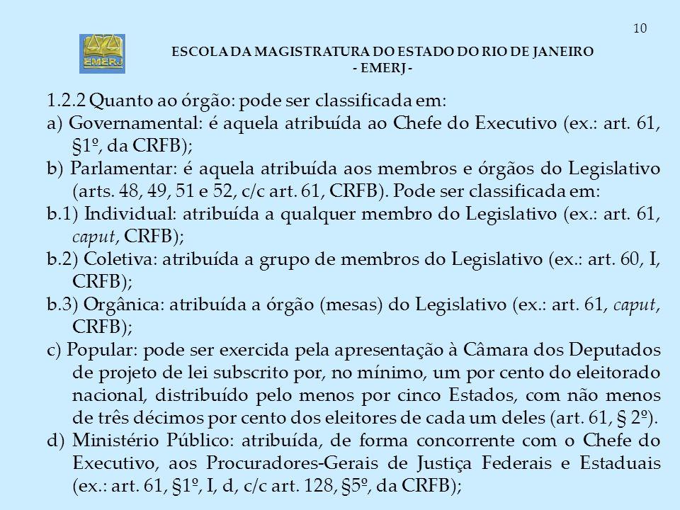 ESCOLA DA MAGISTRATURA DO ESTADO DO RIO DE JANEIRO - EMERJ - 10 1.2.2 Quanto ao órgão: pode ser classificada em: a) Governamental: é aquela atribuída