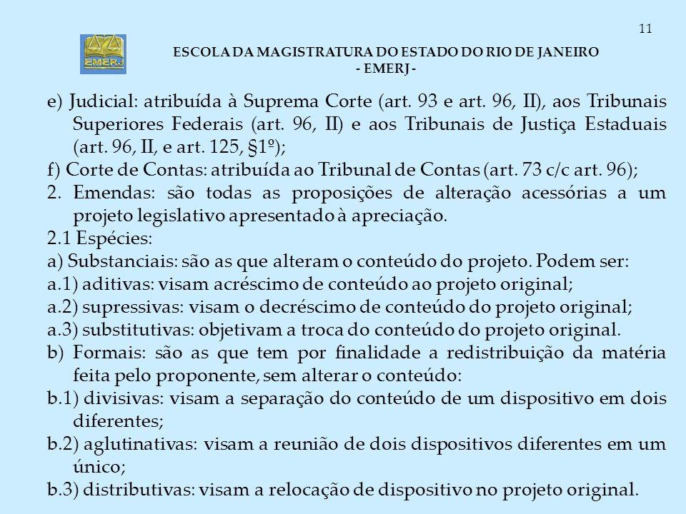 ESCOLA DA MAGISTRATURA DO ESTADO DO RIO DE JANEIRO - EMERJ - 11 e) Judicial: atribuída à Suprema Corte (art. 93 e art. 96, II), aos Tribunais Superior