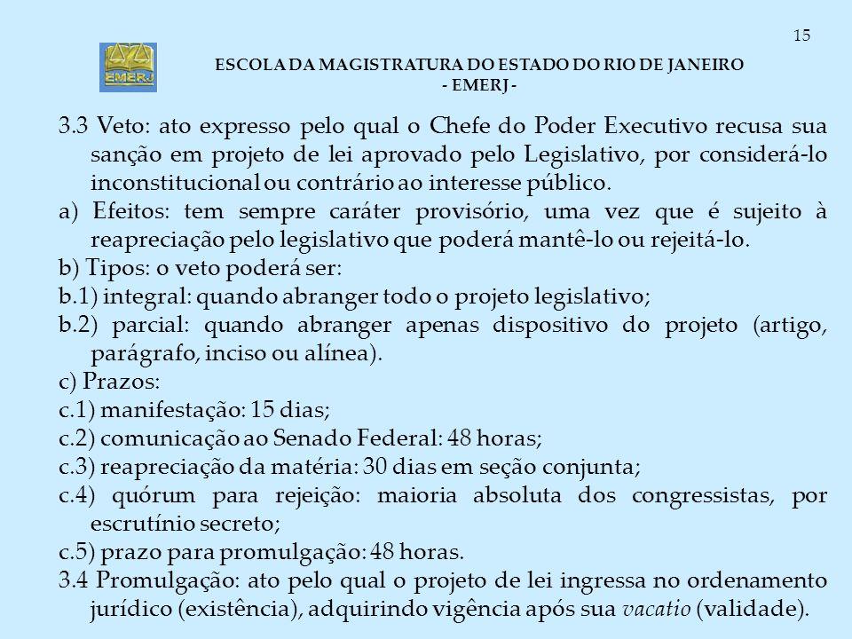 ESCOLA DA MAGISTRATURA DO ESTADO DO RIO DE JANEIRO - EMERJ - 15 3.3 Veto: ato expresso pelo qual o Chefe do Poder Executivo recusa sua sanção em proje