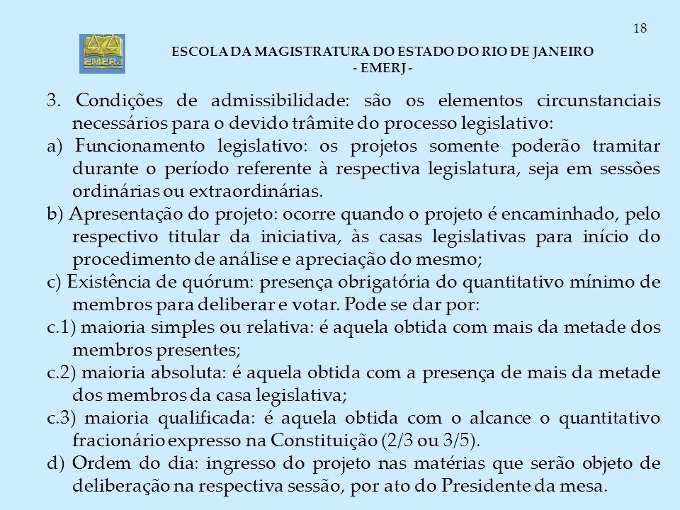 ESCOLA DA MAGISTRATURA DO ESTADO DO RIO DE JANEIRO - EMERJ - 18 3. Condições de admissibilidade: são os elementos circunstanciais necessários para o d