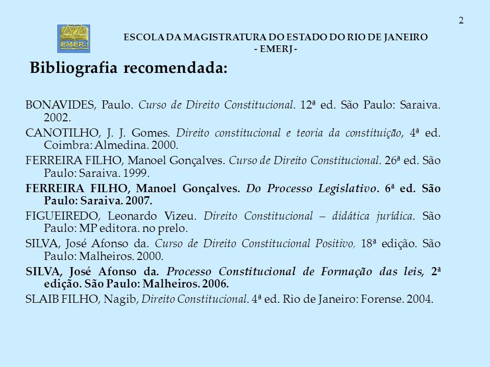 ESCOLA DA MAGISTRATURA DO ESTADO DO RIO DE JANEIRO - EMERJ - 2 Bibliografia recomendada: BONAVIDES, Paulo. Curso de Direito Constitucional. 12ª ed. Sã