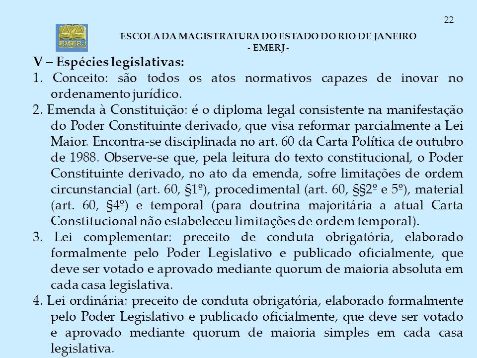 ESCOLA DA MAGISTRATURA DO ESTADO DO RIO DE JANEIRO - EMERJ - 22 V – Espécies legislativas: 1. Conceito: são todos os atos normativos capazes de inovar