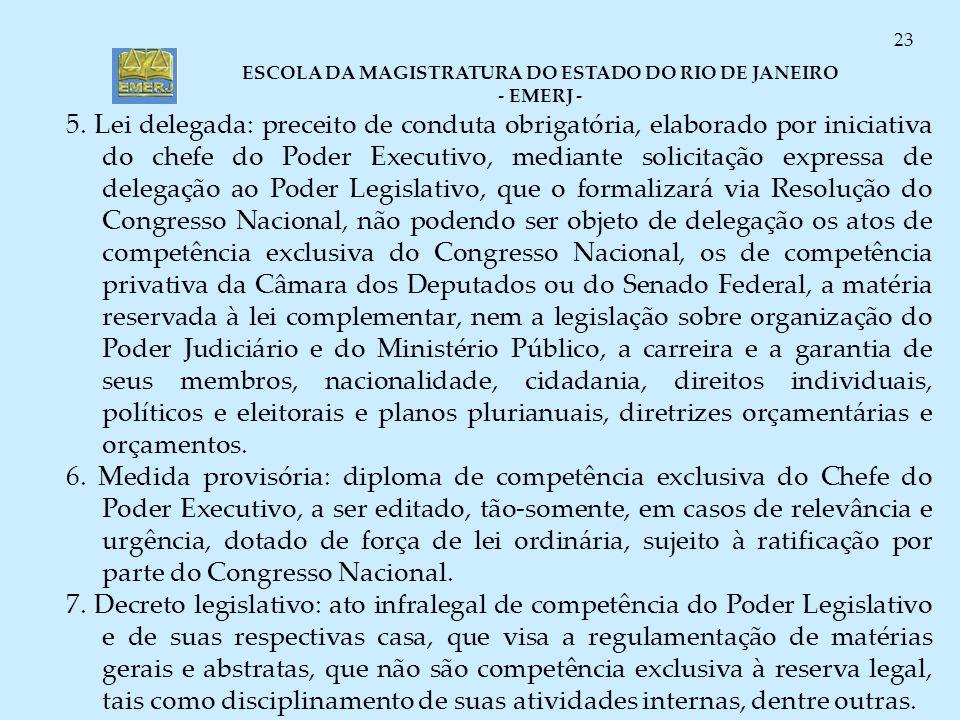 ESCOLA DA MAGISTRATURA DO ESTADO DO RIO DE JANEIRO - EMERJ - 23 5. Lei delegada: preceito de conduta obrigatória, elaborado por iniciativa do chefe do