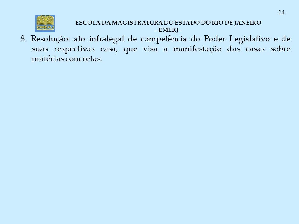 ESCOLA DA MAGISTRATURA DO ESTADO DO RIO DE JANEIRO - EMERJ - 24 8. Resolução: ato infralegal de competência do Poder Legislativo e de suas respectivas