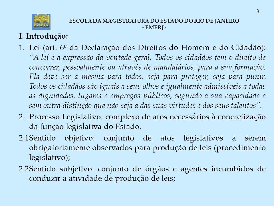 ESCOLA DA MAGISTRATURA DO ESTADO DO RIO DE JANEIRO - EMERJ - 3 I. Introdução: 1.Lei (art. 6º da Declaração dos Direitos do Homem e do Cidadão): A lei