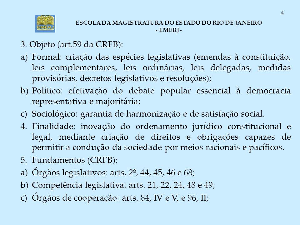 ESCOLA DA MAGISTRATURA DO ESTADO DO RIO DE JANEIRO - EMERJ - 4 3. Objeto (art.59 da CRFB): a)Formal: criação das espécies legislativas (emendas à cons