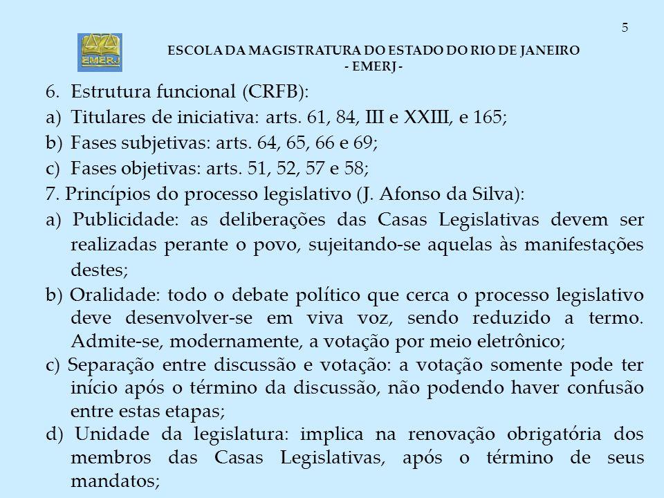 ESCOLA DA MAGISTRATURA DO ESTADO DO RIO DE JANEIRO - EMERJ - 5 6.Estrutura funcional (CRFB): a)Titulares de iniciativa: arts. 61, 84, III e XXIII, e 1