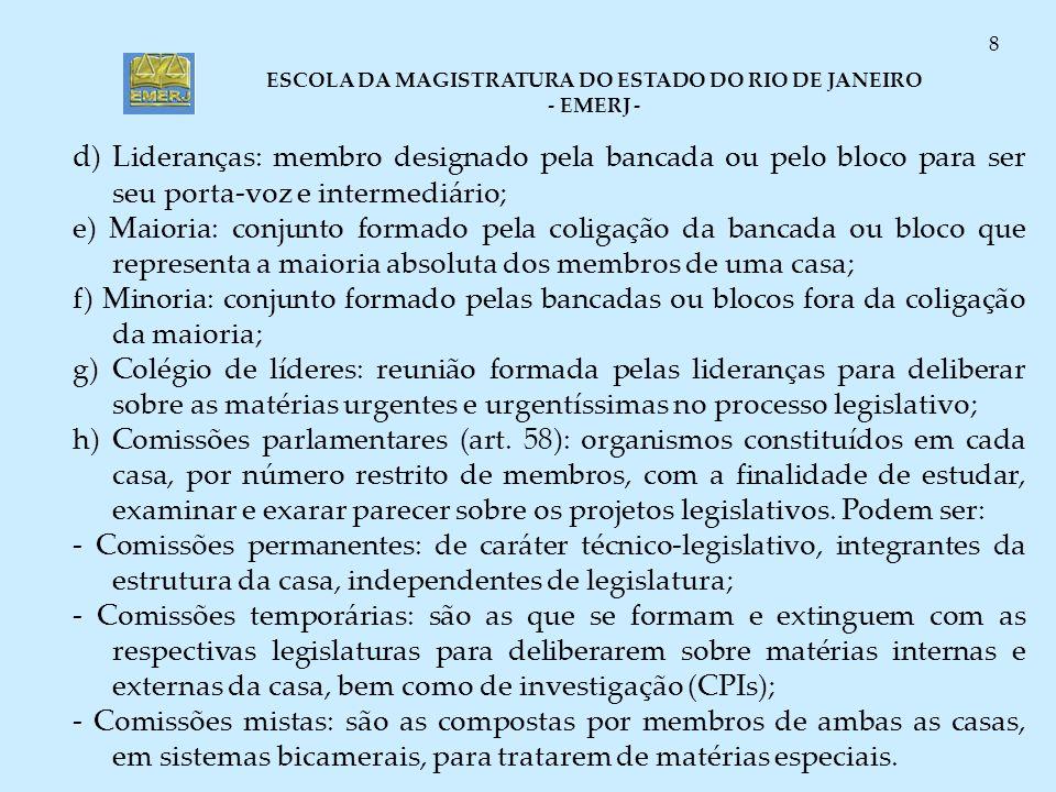 ESCOLA DA MAGISTRATURA DO ESTADO DO RIO DE JANEIRO - EMERJ - 8 d ) Lideranças: membro designado pela bancada ou pelo bloco para ser seu porta-voz e in